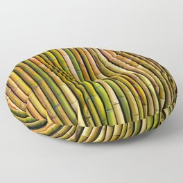 Bamboo fence, texture Floor Pillow