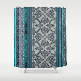 Teal, Aqua & Grey Vintage Bohemian Wallpaper Stripes Shower Curtain