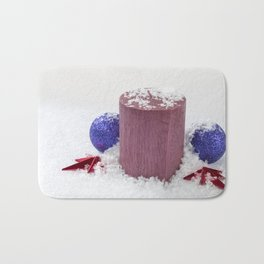 Christmas Candle Snow and Baubles Bath Mat