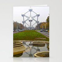 brussels Stationery Cards featuring Atomium Brussels Painted Photography by Premium