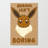 eevee Canvas Prints featuring normal eevee by deerboywonder