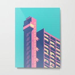 Trellick Tower London Brutalist Architecture - Plain Sky Metal Print