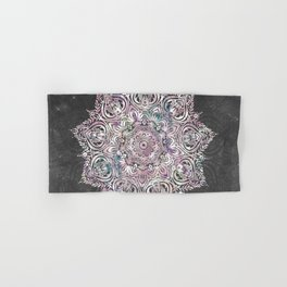 Dreaming Mandala - Magical Purple on Gray Hand & Bath Towel