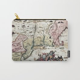 New England old map with New Amsterdam Carry-All Pouch