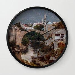 An Old bridge in Mostar Wall Clock