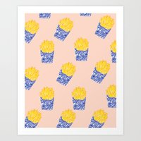fries Art Prints featuring Floral Fries by Bouffants and Broken Hearts