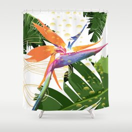 Tropical Bird of Paradise Flower Shower Curtain