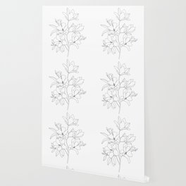 Minimal Line Art Magnolia Flowers Wallpaper