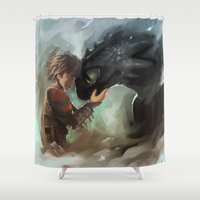 hiccup Shower Curtains featuring hiccup & toothless by AkiMao
