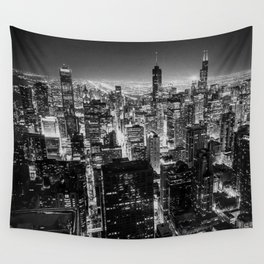 Chicago Skyline at Night Wall Tapestry