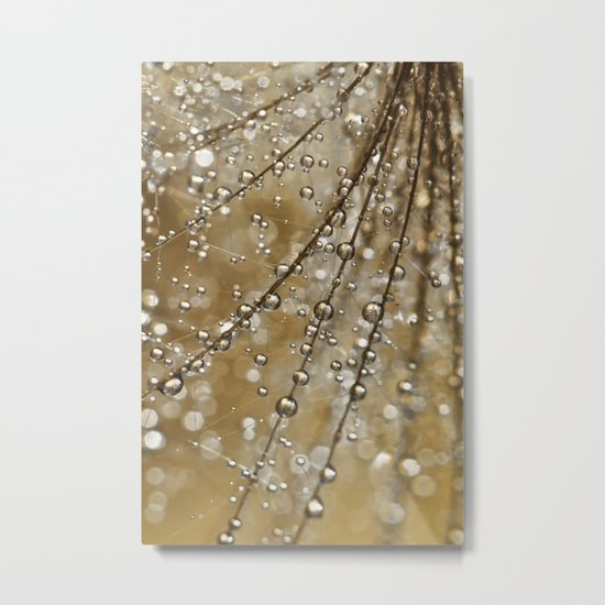 Golden Fairy Shower Metal Print