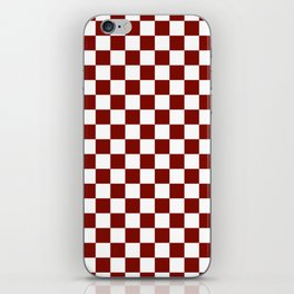 Vintage New England Shaker Barn Red and White Milk Paint Jumbo Square Checker Pattern iPhone Skin