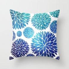 Ocean Flowers Watercolor Throw Pillow