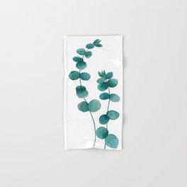 green eucalyptus watercolor Hand & Bath Towel