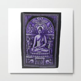 Vintage art Buddha Meditation Purple Batik Wall Hanging Metal Print