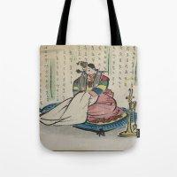 korean Tote Bags featuring Korean Bride 1952 by Nancy Smith