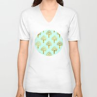 gold foil V-neck T-shirts featuring Mint Gold Foil 02 by Aloke Design