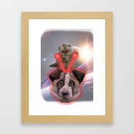 Laser Cat vs. Space Dog Framed Art Print
