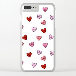 Hearts valentines day candy heart love sayings i love you pattern Clear iPhone Case