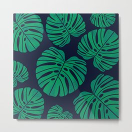 Kelly Green Monstera Leaves Metal Print