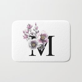 Letter 'M' Magnolia Flower Typography Bath Mat
