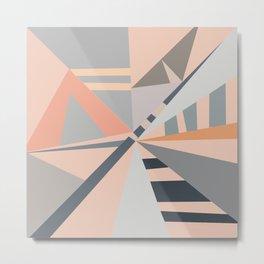 Modern pastel coral gray geometric pattern Metal Print