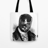 wrestling Tote Bags featuring WRESTLING MASK 7 by DIVIDUS DESIGN STUDIO