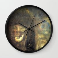imagerybydianna Wall Clocks featuring reina, of moon and paper by Imagery by dianna