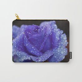 Water drops on purple rose flower Carry-All Pouch