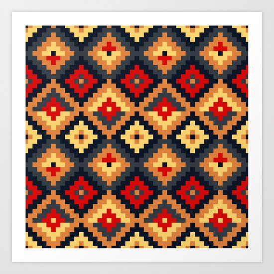 Aztec pattern-red, brown, nude, blue Art Print