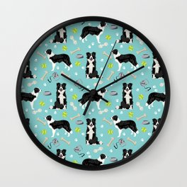 Border Collie tennis ball cute pet portrait by pet friendly dog patterns dog breed gifts Wall Clock