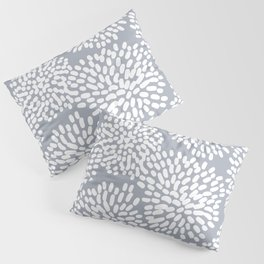 Grey and White Abstract Firework Flowers Pillow Sham