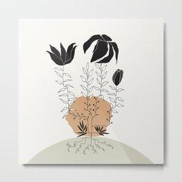 Natural Line Art - Plant Roots Metal Print