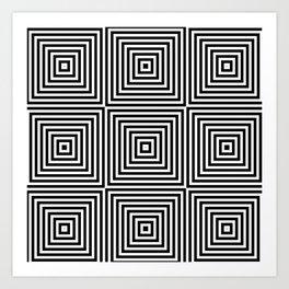 Square Optical Illusion Black And White Art Print