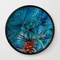 palm tree Wall Clocks featuring Palm Tree by DistinctyDesign