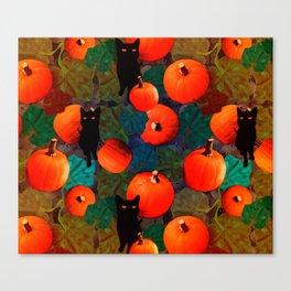 Pumpkins and Black Cats Canvas Print