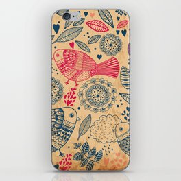Vintage Flower and Birds iPhone Skin