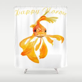 Happy Norooz Persian New Year Goldfish Isolated Shower Curtain