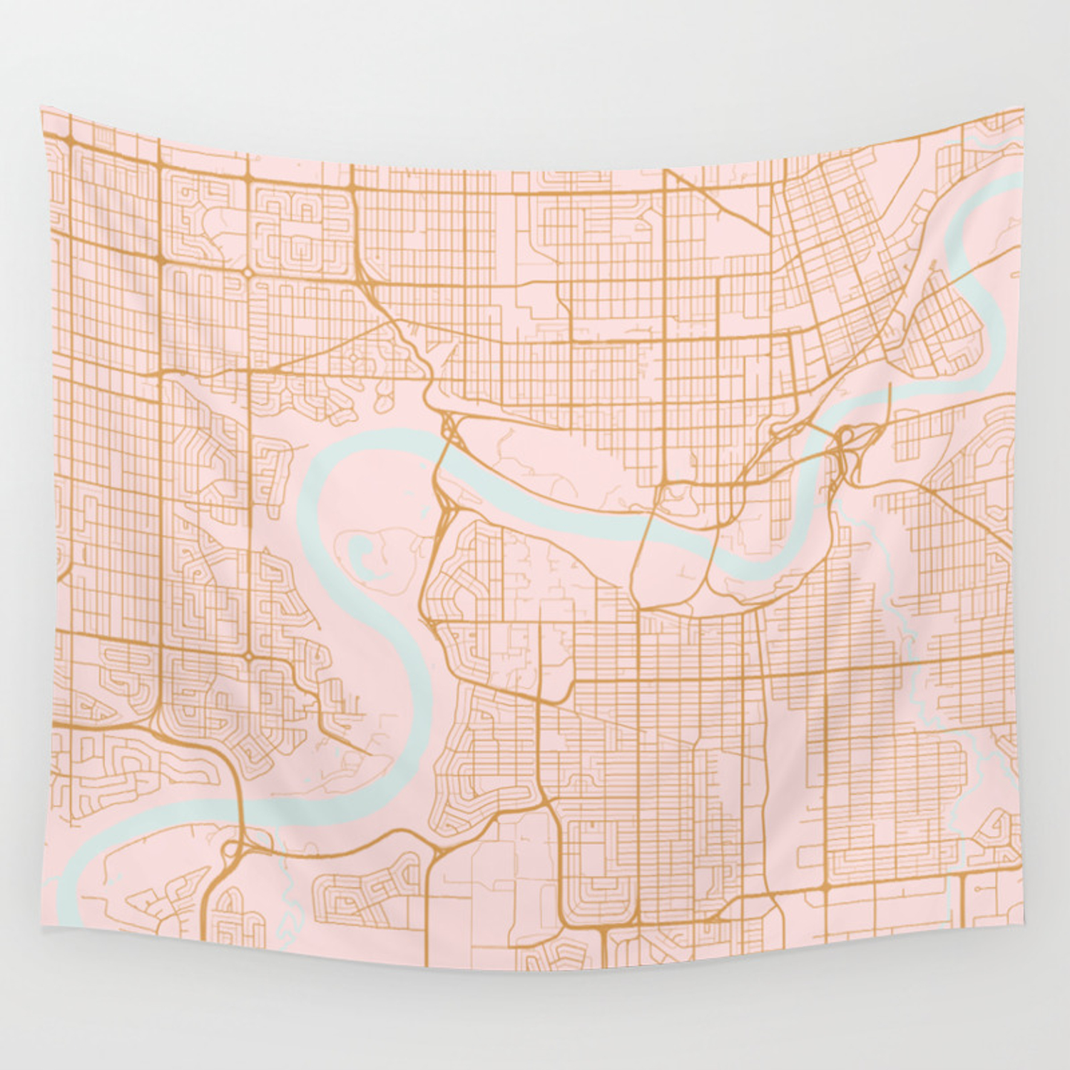 Edmonton Map Of Canada.Edmonton Map Canada Wall Tapestry