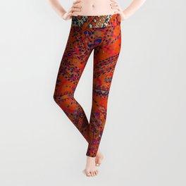 Orange Wildflower Sunshine II // 18th Century Colorful Rusty Red Bright Blue Metallic Happy Pattern Leggings