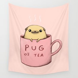 Pug of Tea Wall Tapestry