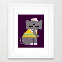 preppy Framed Art Prints featuring Rodney the preppy elephant by Picomodi