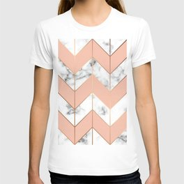 LUXE ROSE GOLD VECTOR ON BLACK AND WHITE MARBLE T-shirt