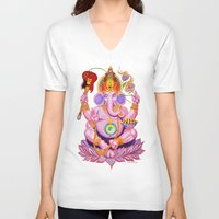 ganesh V-neck T-shirts featuring Ganesh by Jared Bretholtz