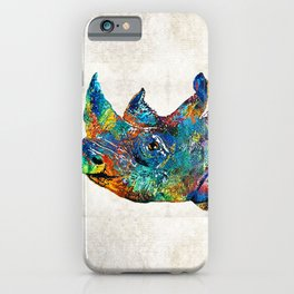 Rhino Rhinoceros Art - Looking Up - By Sharon Cummings iPhone Case
