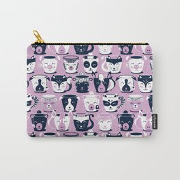 Cuddly Tea Time // white navy & light orchid pink animal mugs Carry-All Pouch