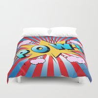 dc comics Duvet Covers featuring comics  by mark ashkenazi