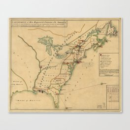 Vintage British Occupation Map of America (1765) Canvas Print