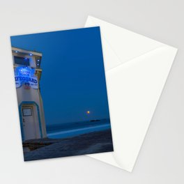 Moonset From Main Beach Stationery Cards