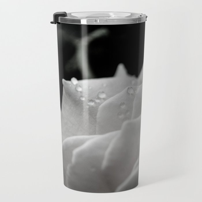 Floral Nature Photography - Delicate Rose with Water Droplets - Black and White Travel Mug